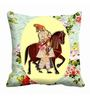 Me Sleep Multicolor Satin 16 x 16 Inch King Digitally Printed Cushion Cover