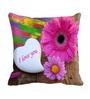Me Sleep Pink Cotton 16 x 16 Inch Flower Love Digitally Printed Cushion Cover