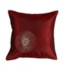 Me Sleep Red Duppioni 16 x 16 Inch Hand Embroidery Cushion Cover