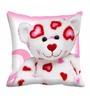 Me Sleep White & Pink Cotton 16 x 16 Inch Teddy Bear Digitally Printed Cushion Cover