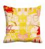 Me Sleep Yellow & Cream Satin 16 x 16 Inch Modern Style Cushion Cover