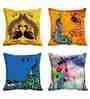 Me Sleep Yellow Satin 16 x 16 Inch Cushion Covers - Set of 4