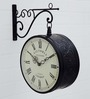 Medieval India Black Metal Victoria Station Double Side Wall Clock