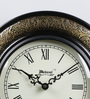 Medieval India Black & Antique Gold Wooden 9.4 Inch Roman Round Wall Clock