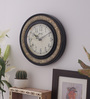Medieval India Black & Antique Gold Wooden 9.4 Inch Round Wall Clock