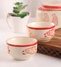 Meraki By Sonal Buti Red And White Ceramic 200 ML Breakfast Serving Bowl - Set Of 2