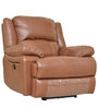 Mercedes Half Leather One Seater Electric Recliner in Brown Color by HomeTown