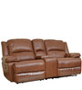 Mercedes Half Leather Two Seater Electric Recliner in Brown Color by HomeTown