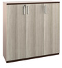 Merit Mid Height Storage Cabinet with Three Doors in Brown Colour by Spacewood