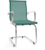 Mesh Fabric Mid Back Fixed Chair in Green Color by FabChair