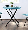 Mexico Folding Round Table in Blue Color by Woodsworth