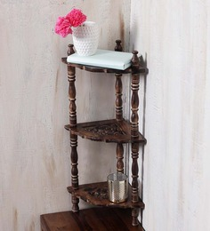 Onlineshoppee Brown Mango Wood Intricate Carved Side Table