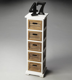 Miniature Chest Of Drawers in Brown & White Colour by The Yellow Door Store