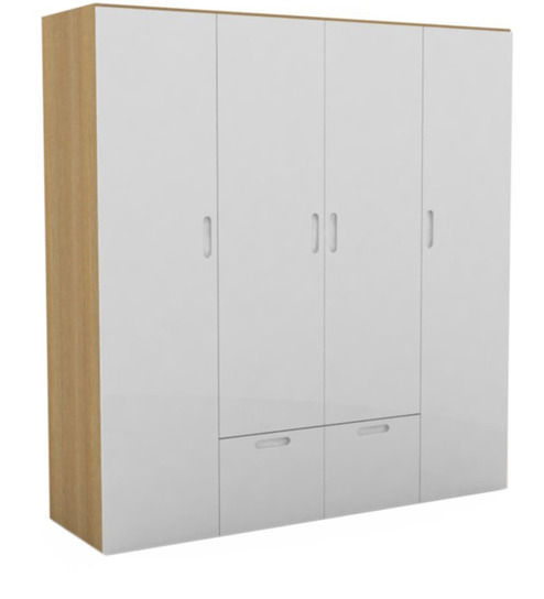 Godrej Kitchen Accessories: Mist Four Door Wardrobe In Warm White Finish By Godrej