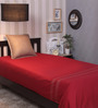 Milano Home Embroidered 100% Cotton 200 Thread Count Single Bedsheet - Maroon