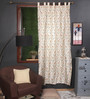 Milano Home Multicolour Silk 90 x 51.5 Inch Embroidered Tab Top Curtain