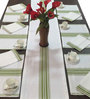 Milano Homes Herringbone Green & White Cotton Table Linen Set - Set of 13