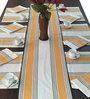 Milano Homes Herringbone Orange & White Cotton Table Linen Set - Set of 13