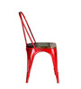 Ekati Metal Chair in Distressed Red Color with Wooden Seat by Bohemiana