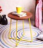 Mirai Yellow Stool in Acacia Wood by Bohemiana