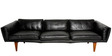 Modern Three Seater Sofa with Extra Side Cusions in Black Colour by Afydecor