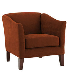 Modern Accent Chair with Curved Armrest & Slanted Legs in Brown Colour by AfyDecor