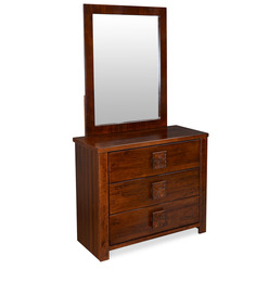 Monalisa Dressing Table with Mirror in Walnut & Caramel Colour by @home