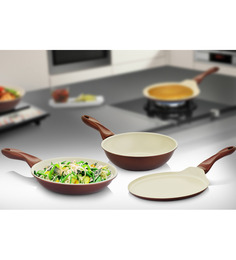 Mondo Ceramic Coated Non Stick 3 Pcs Cookware Set - Frypan+Kadhai+Tawa