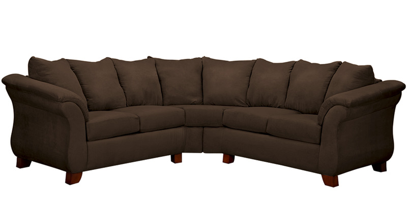 Modern two piece sectional sofa with plush cushioning in for Large plush sectional sofa