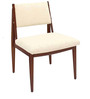 Modern Dining Chair with Padded Back in Off White Colour by Afydecor