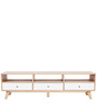 Modern Entertainment Unit with Drawers for Storage in White & Brown Colour by Afydecor