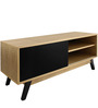 Modern Scandinavian Entertainment Unit with Sliding Single Front Panel in Honey Colour by Afydecor