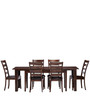 Modern Six Seater Dining Set with Broad Slatted Back Chairs by Afydecor