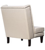 Modern Wingback Chair with a Slant Back & Trim Details in Tan Colour by Afydecor