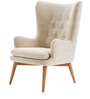 Modern Wingback Chair with Curved Back and Slanted Legs by Afydecor