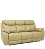 Motorized Three Seater Half Leather Recliner in Taupe Colour by Star India