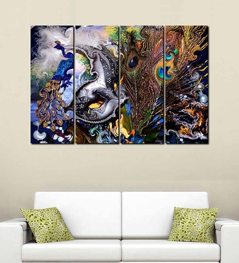Buy 999store peacock feather multicolour sun boardwall art for Where can i buy peacock feathers craft store