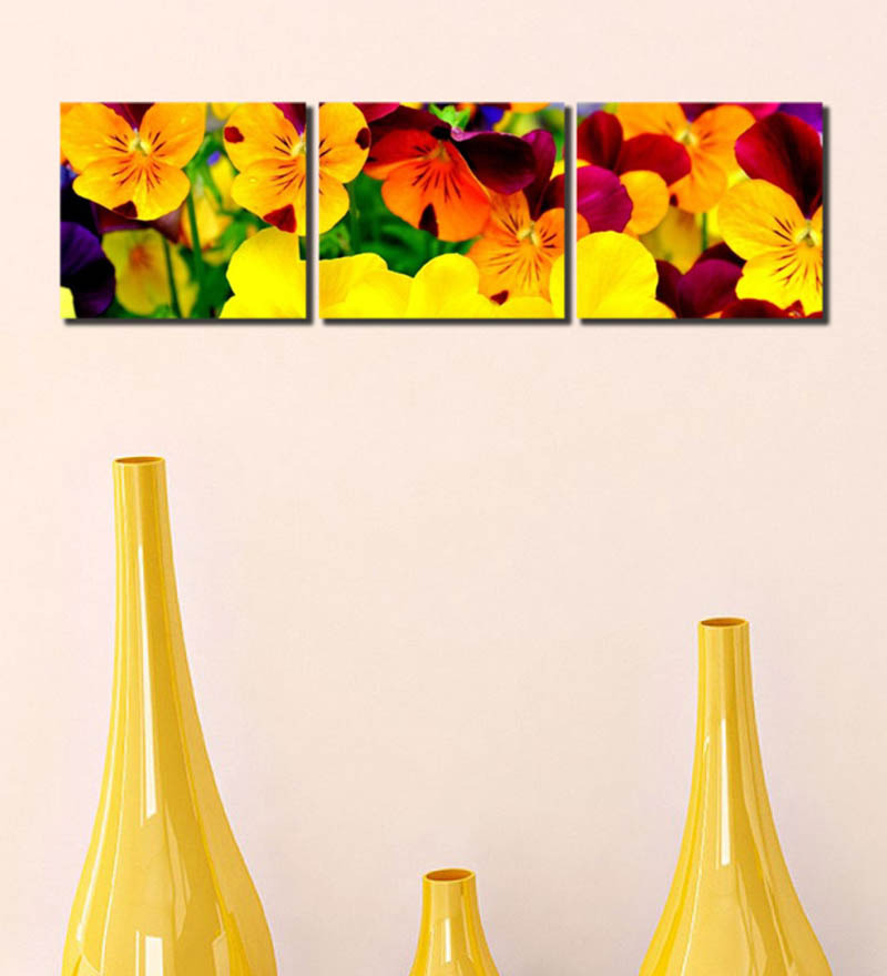 Yellow Flowers Wall Decor : Store yellow flower multiple frame wall art by