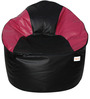 Muddha XXXL Sofa Bean Bag Cover without Beans in Black and Pink Colour by Sattva