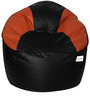 Muddha XXXL Sofa Bean Bag with Beans in Black and Orange Colour by Sattva
