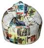 Muddha Sofa Bean Bag with Beans with Travel Print by Sattva