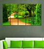 Multiple Frames Printed Green Park Art Panels like Painting - 5 Frames