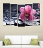Multiple Frames Printed Pink Flowers Art Panels like Painting - 5 Frames