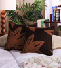 Muslin Chocolate Jacquard 12 x 12 Inch Floral Fantasy Cushion Cover - Set of 2