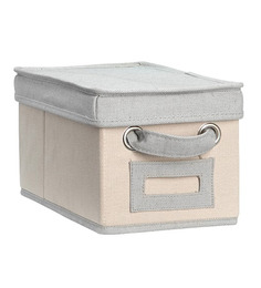 My Gift Booth Beige & Grey Cotton Mini Storage