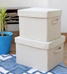 My Gift Booth Linen Beige Storage Box - Set of 2