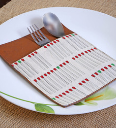 My Gift Booth Matchstick Print Canvas & Leather Utensil Holder - Set of 6