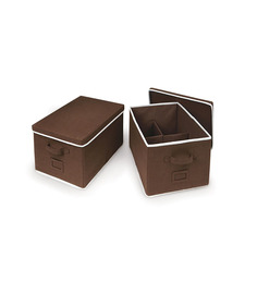 My Gift Booth Non-Woven Brown Clothes Organiser - Set of 2