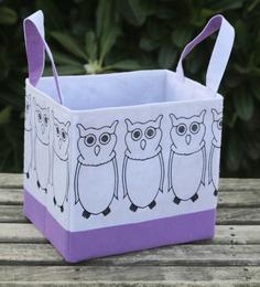 My Gift Booth Owl Felt White & Mauve 10 L Storage Box