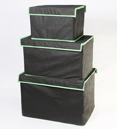 My Gift Booth Non-Woven Black Storage Box - Set Of 3